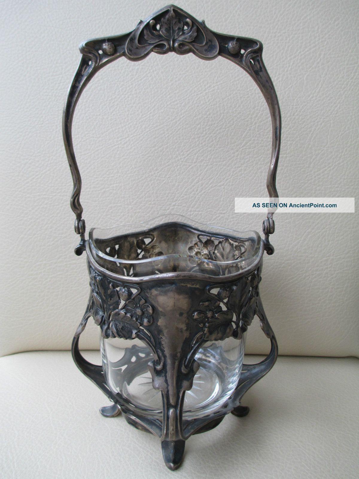 Stunning Antique Silver Art Nouveau Basket H.  S.  Goldschmidt&sohn Germany C.  1900 Germany photo