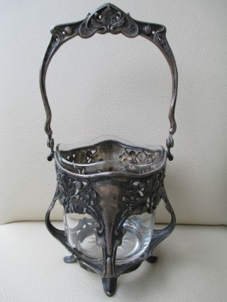 Stunning Antique Silver Art Nouveau Basket H.  S.  Goldschmidt&sohn Germany C.  1900 photo