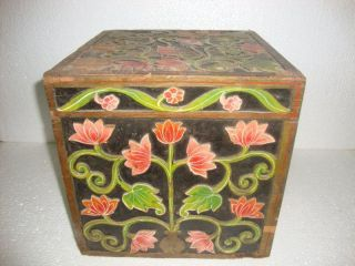 1930s Rare Handmade Carved Colorful Flower Vintage Wooden 9 Bottle Wine Box photo