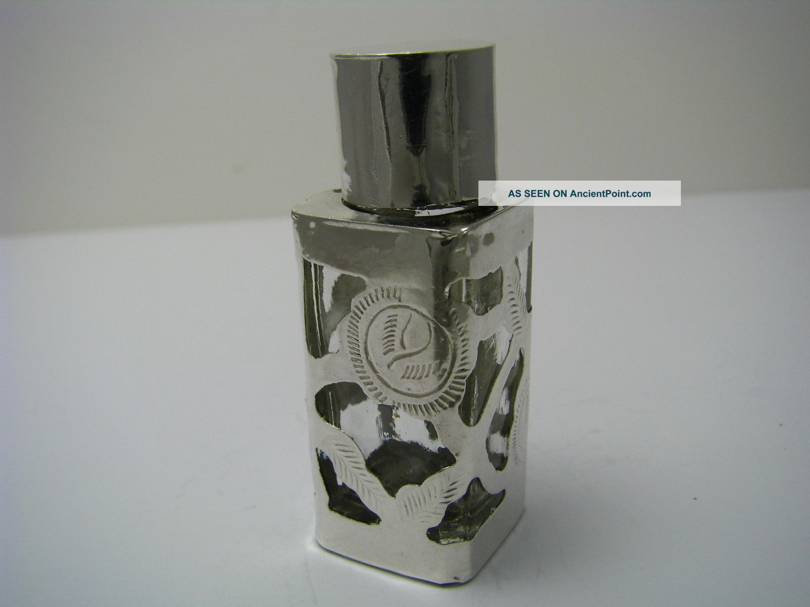Vintage Overlay Sterling Silver&glass Perfume Bottle Sent Taxco Mexico C1960s Mexico photo