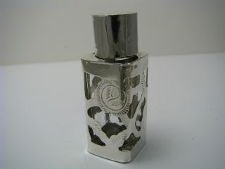 Vintage Overlay Sterling Silver&glass Perfume Bottle Sent Taxco Mexico C1960s photo