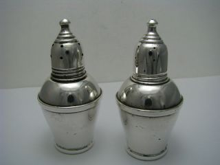 American Sterling Silver & Glass Salt & Pepper Shakers Ca1950s photo
