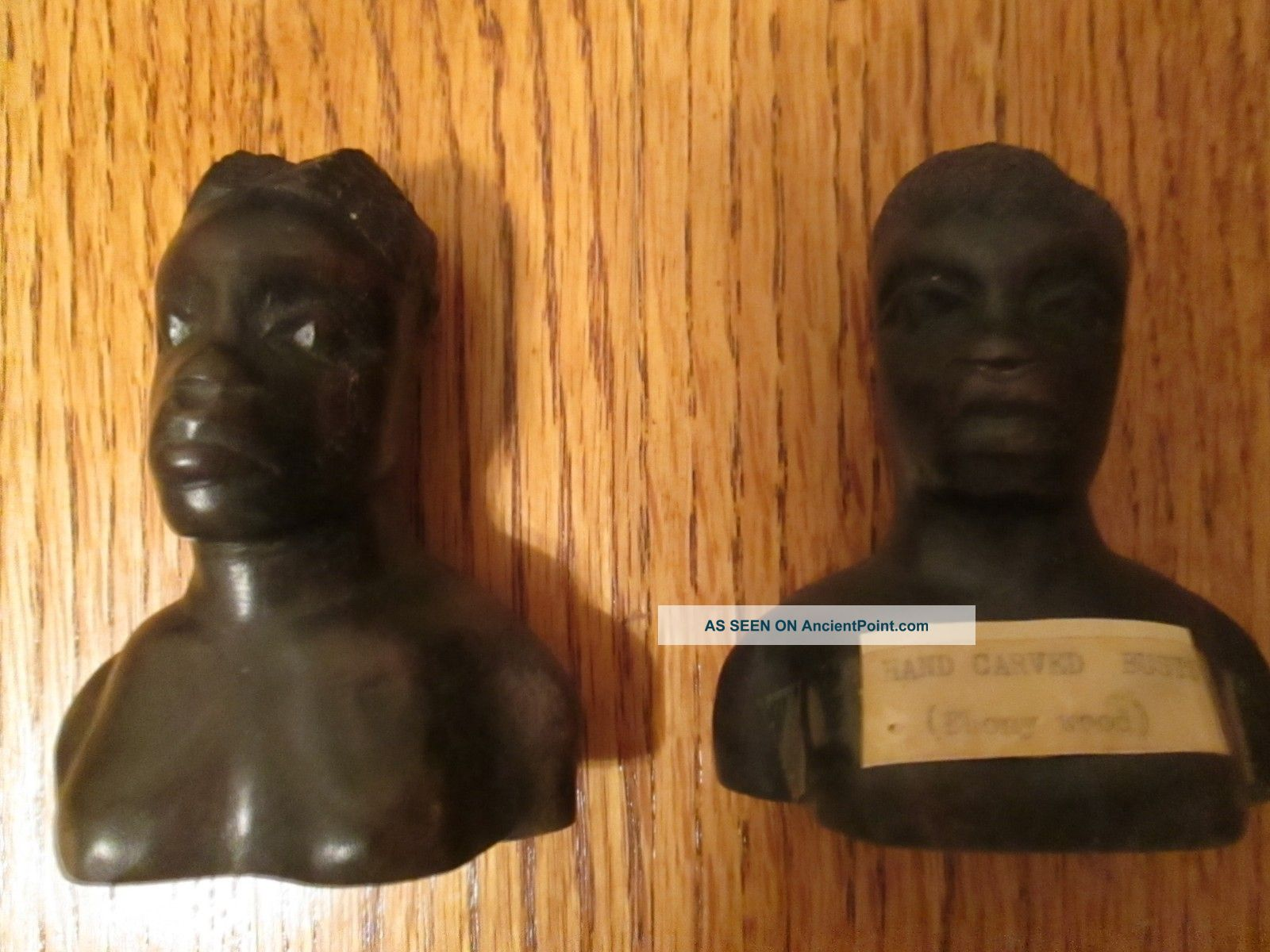 Pair 1930 ' S Nigeria African Hand Craved Busts Ebony Wood 3 - 1/2