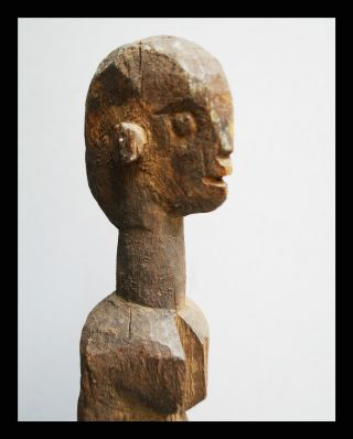 An Elongated And Old Dogon Tribe Statue From Mali On Metal Base photo