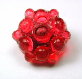 Antique Charmstring Glass Button Fancy Cranberry Candy Mold Swirl Back photo