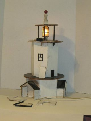 Vintage Wood Electric Lighthouse Project Hand Made,  Works 21 - 1/2 Tall G Scale? photo
