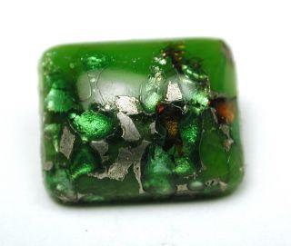 Antique Leo Popper Glass Button Green Rectangle W/ Silver & Orange photo