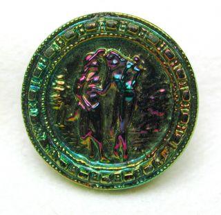 Antique Black Glass Button W/ Carnival Luster French Fops Romantic Scene photo
