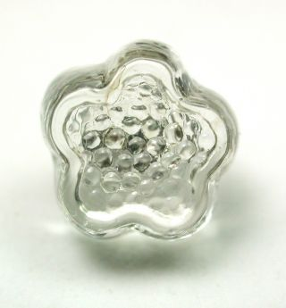 Antique Charmstring Glass Button Crystal Color Flower Mold Swirl Back photo