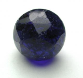 Antique Charmstring Glass Button Faceted Cobalt Ball Swirl Back photo