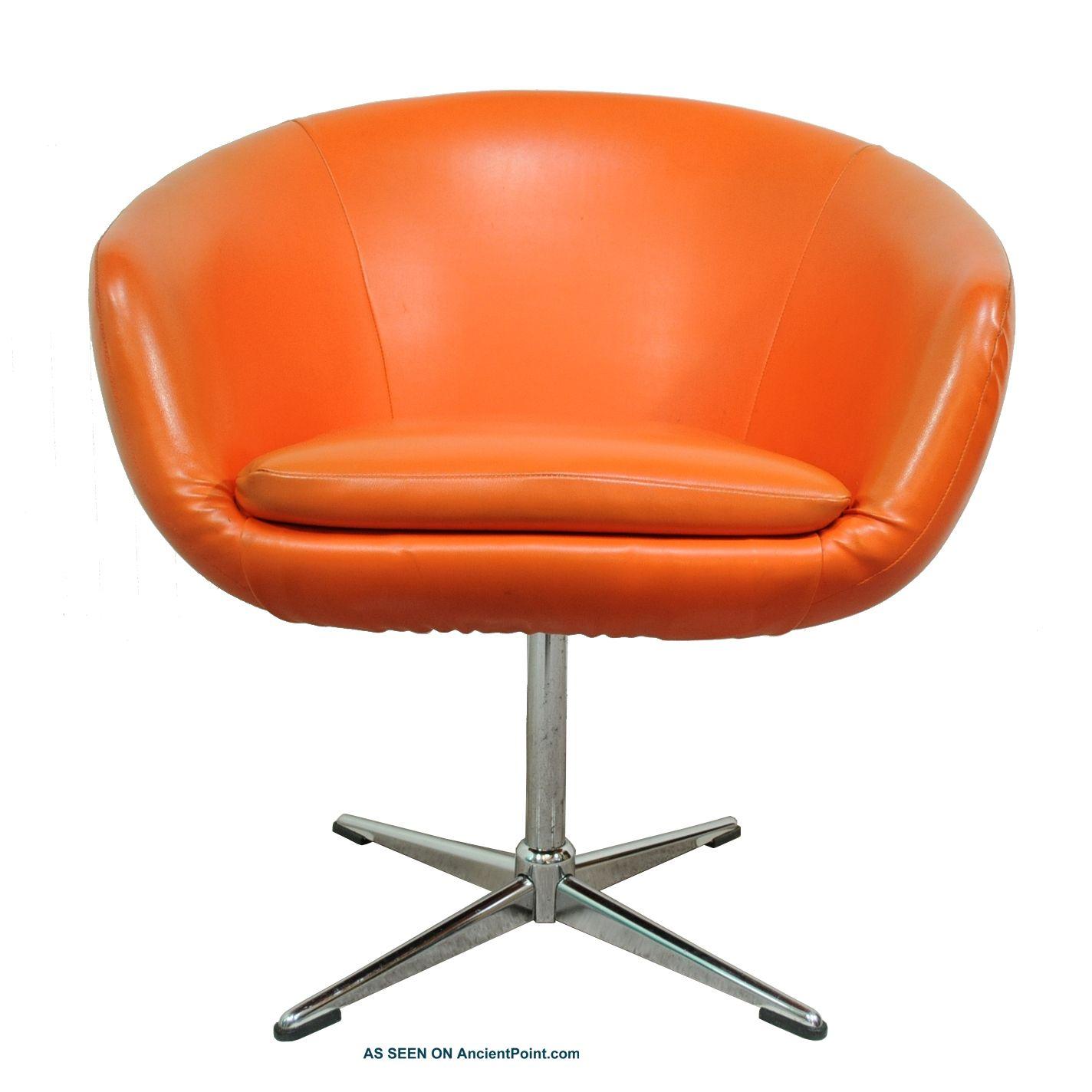 Vtg Mid Century Modern Orange Shelby Williams Pod Lounge Chair Overman  Danish Er