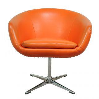 Vtg Mid Century Modern Orange Shelby Williams Pod Lounge Chair Overman Danish Er photo