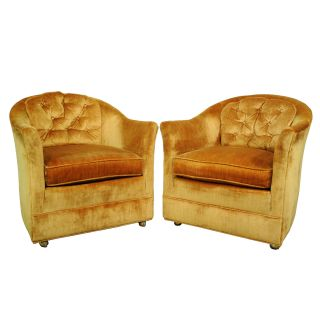 Pair Vtg Gold Crushed Velvet Mid Century Modern Club Lounge Chairs Baughman Era photo
