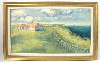 Yard Long Oil Painting Nantucket Lighthouse & Point Ehrensberger Nr Yqz photo