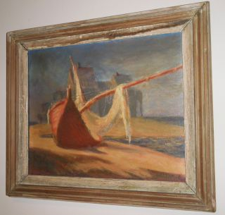 R.  Hasenfus: Beached Boat On Maine Coast Oil Painting - Signed Yr: 1955 photo