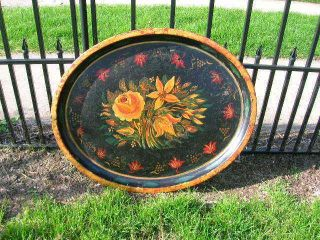 Antique Large Toleware Hand Painted Tray Artist Signed photo