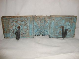 1880s Old Rare Vintage Painted Carved Wooden Wall Hanger photo