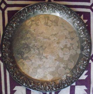 Vintage Sheridan Taunton Silversmith Silverplate Ep Brass Platter / Tray 15 3/4