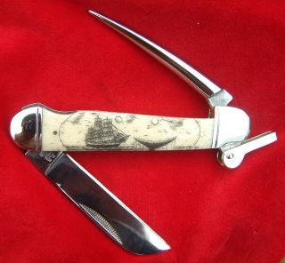 Collectable,  Scrimshaw Art,  Ship,  Whale Tail,  Marlin Spike Folding Knife/knives photo