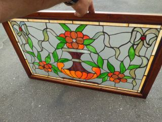 50384 Stained Glass Leaded Window With Jewels In Wood Frame photo