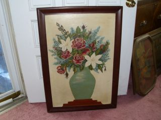 Acrylic Flower And Vase Picture/ Found In Attic photo
