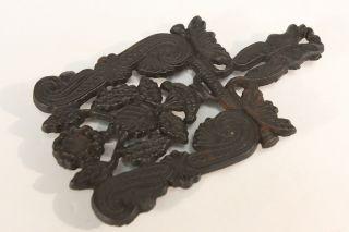 Cast Iron Metal Black Kitchen Trivet Vintage Art Nouveau Styled Flourish Flowers photo