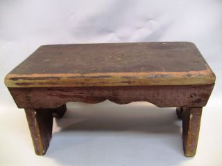 Early 1800 ' S Pennsylvania Wooden Bench Foot Stool W.  Carved Rosette photo