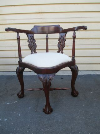 51721 Solid Mahogany Chippendale Corner Chair Armchair photo