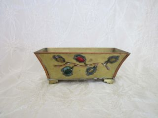 Antique Chinese Brass Copper Glass Petite Planter Box photo