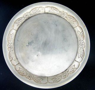 Antique Nouveau Sterling Silver Dish Or Coaster 75g.  2.  6oz photo