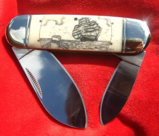 Authentic Nautical Art,  Collectible Scrimshaw,  Ship,  Dock,  Folding Knife/knives photo