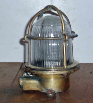 Nautical C1960 German Fishing Trawler Ceiling Lamp Solid Brass Caged Electric photo