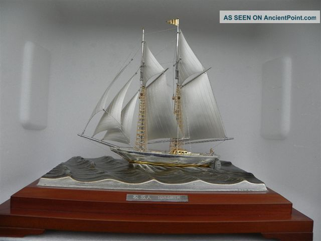 Finest Japanese Large 2 Masted Sterling Silver 985 Model Ship By Takehiko Japan Other photo