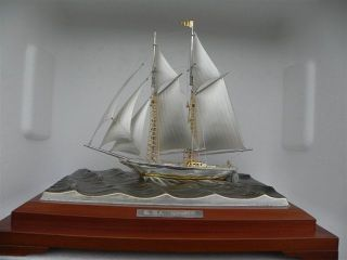 Finest Japanese Large 2 Masted Sterling Silver 985 Model Ship By Takehiko Japan photo