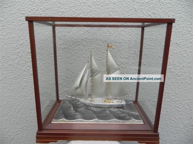 Very Large Finest Signed Japanese 2 Masted Sterling Silver Model Ship Seki Japan Other photo