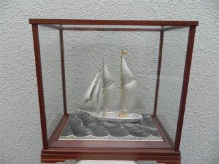Very Large Finest Signed Japanese 2 Masted Sterling Silver Model Ship Seki Japan photo