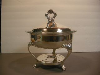 F.  B.  Rogers Silver Plated Chafing Dish/server W/fire King/anchor Hocking Glass photo