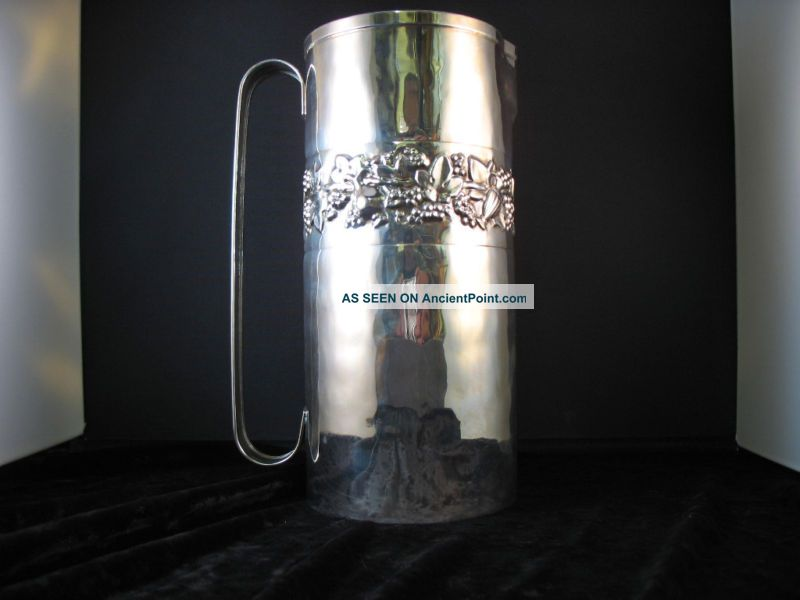 Brandimarte Hand Hammered Silver Pitcher Grapes Fruit Silver Alloys (.800-.899) photo