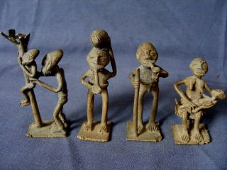 Four Old African Cast Benin Bronzes photo