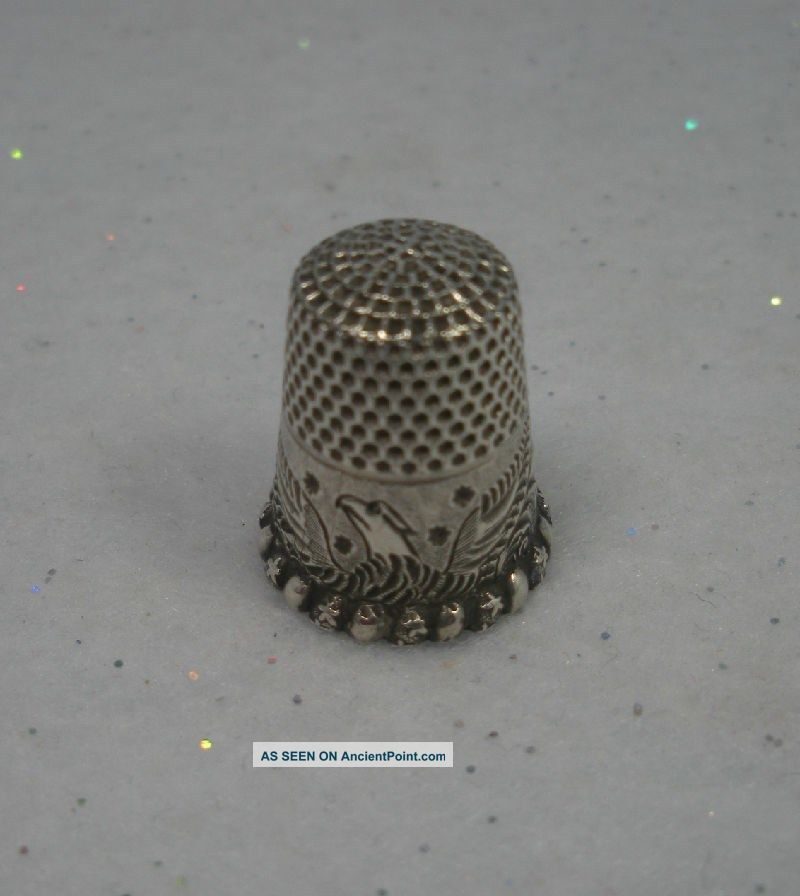 Antique Ketcham & Mcdougall Sterling Silver Spread Eagle Thimble Circa 1890 Vgc Thimbles photo