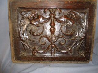 Rare And Early Gothic 17th Century Carved Panel,  Mythical Sea Monsters photo