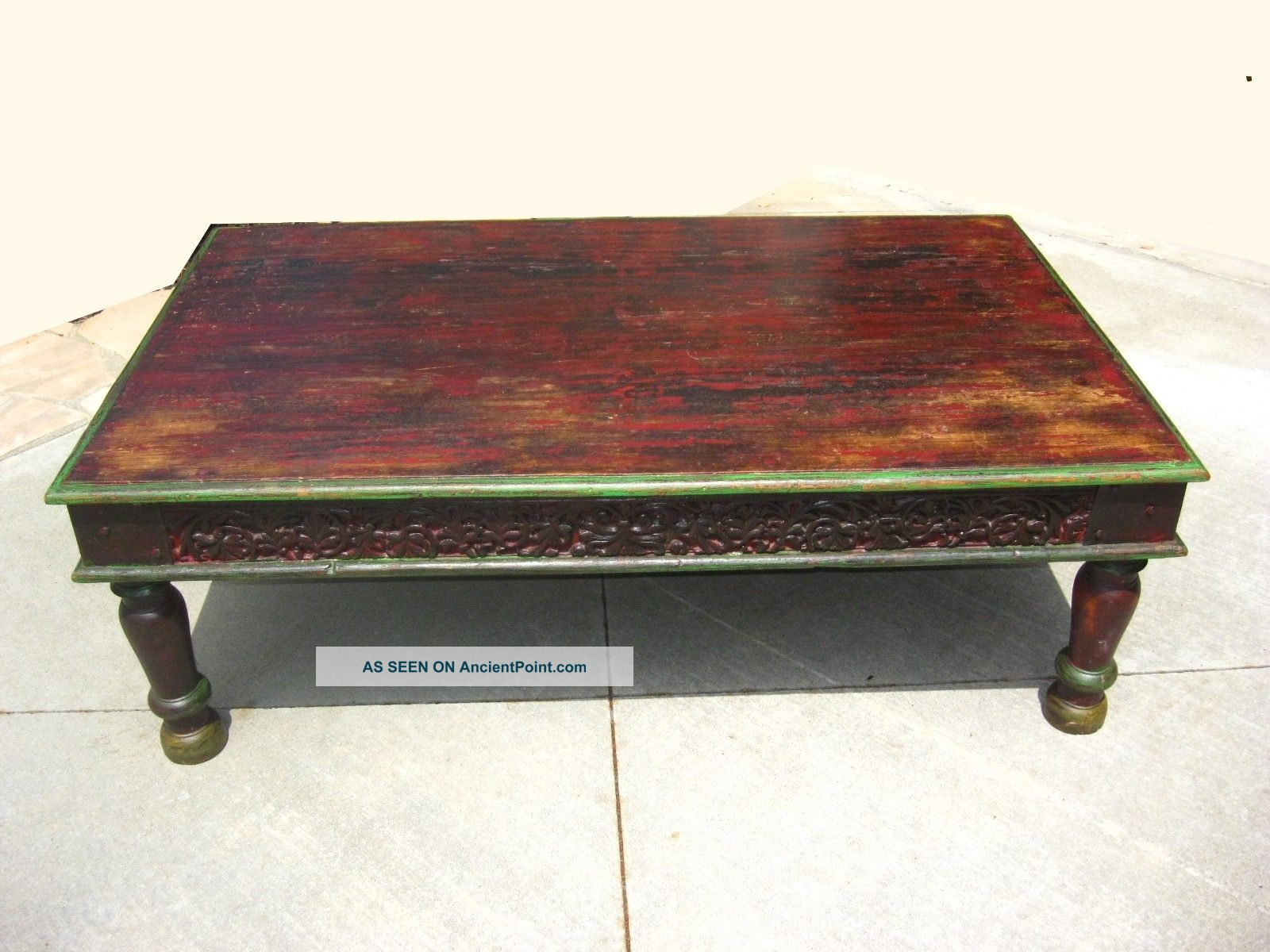 rustic artisan indian hard wood brown distressed wood coffee table full resolution pic
