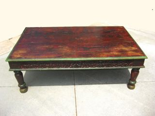 Antique Rustic Artisan Indian Hard Wood Brown Distressed Wood Coffee Table photo