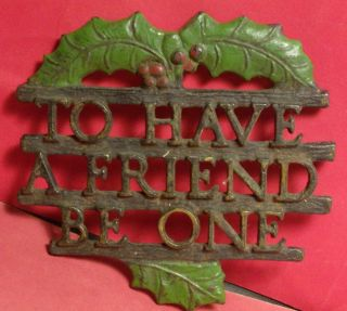 Antique Vintage Trivet Christmas Poinsettia To Have A Friend Be One Hot Plate photo