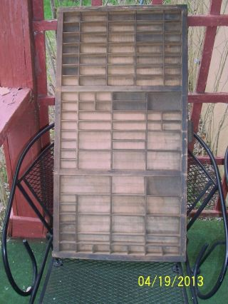 Large Antique Solid Wood Printer ' S Shadow Box. .  2 photo