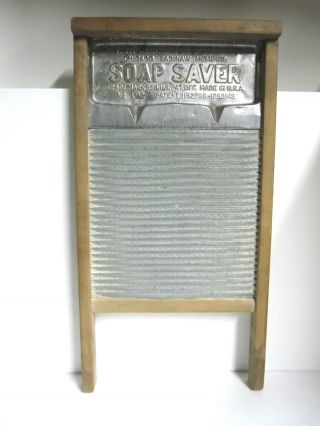 Extremely Rare Antique Soap Saver Zinc National Washboard Wood Metal No.  192 photo