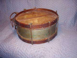 Antique Oak Chestnut Wood Wooden Brass Nickel Silver Snare Drum Stencil Paint photo