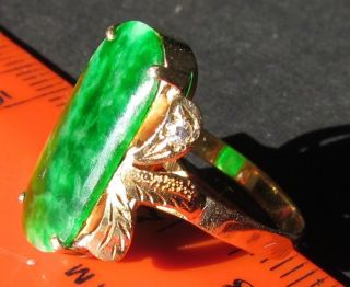Chinese Asian Green Jade 14k Gold Diamond Ring photo