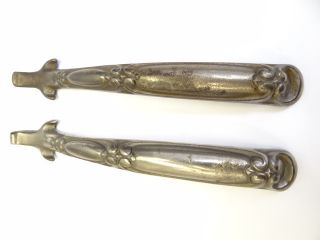 Antique Pair Old Victorian Ornate Cast Iron Nickelplated Woodstove Lid Lifter Nr photo