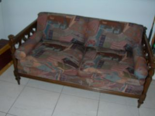 Antique Vintage Black Walnut Couch Settee Sofa 1700 ' S William Mary Gothic Castle photo